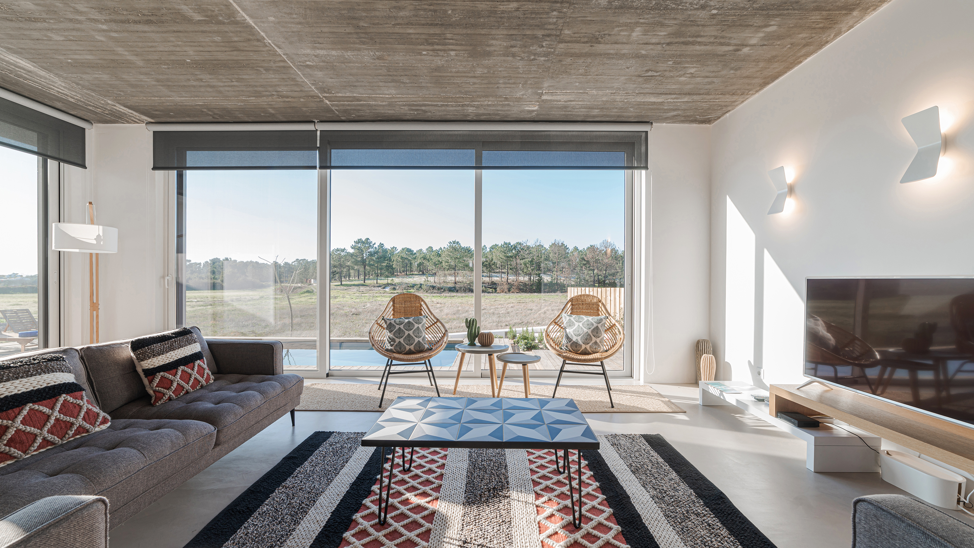 Modern living room with country view